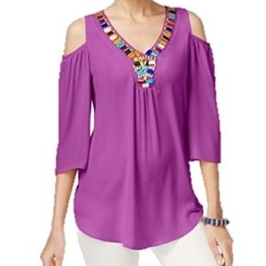 NY Collection Cold Shoulder Beaded Top V-Neck